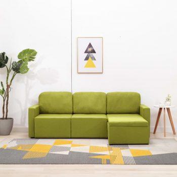 Trosed modularni kavč z ležiščem zelen iz blaga