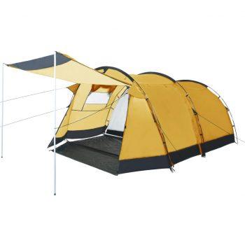 Tunelast šotor za kampiranje za 4 osebe rumen