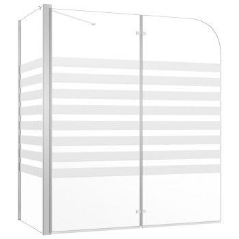 Tuš stena za kopalno kad 120x68x130 cm kaljeno steklo s črtami