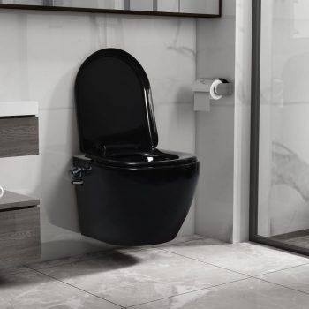 Viseča WC školjka brez roba z bide funkcijo keramična črna