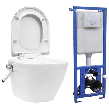 Viseča WC školjka brez roba z vgradnim kotličkom keramična bela