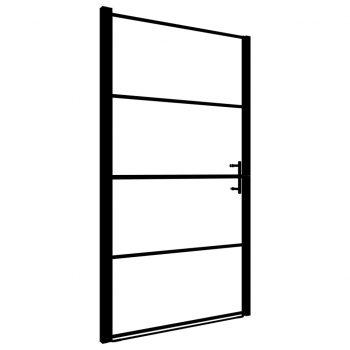 Vrata za tuš kaljeno steklo 100x178 cm črna