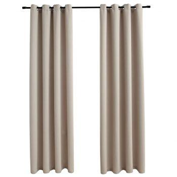 Zatemnitvene zavese s kovinskimi obročki 2 kosa bež 140x175 cm