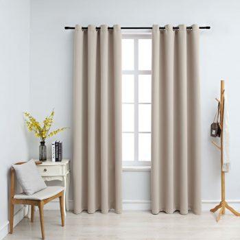 Zatemnitvene zavese s kovinskimi obročki 2 kosa bež 140x225 cm