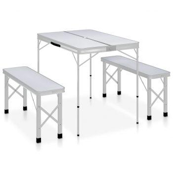 Zložljiva kamping miza z 2 klopema aluminij bele barve
