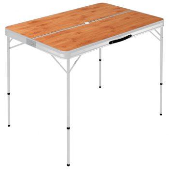 Zložljiva kamping miza z 2 klopema aluminij rjave barve