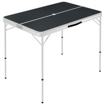 Zložljiva kamping miza z 2 klopema aluminij sive barve