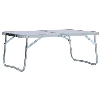 Zložljiva miza za kampiranje bela iz aluminija 60x40 cm