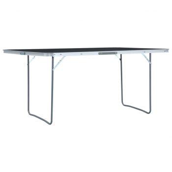 Zložljiva miza za kampiranje siva iz aluminija 180x60 cm