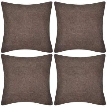 4 Prevleke za Blazine Videz Platna 80 x 80 cm Rjave Barve