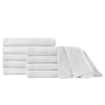 Brisače za savno 10 kosov bombaž 350 gsm 80x200 cm bele