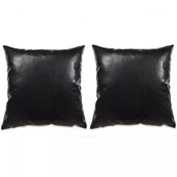 Komplet blazin 2 kosa PU 45x45 cm črne barve