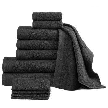 Komplet brisač iz bombaža 12-delni 450 gsm črne barve