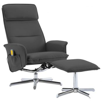 Masažni stol s stolčkom za noge antracitno umetno usnje