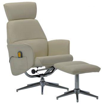 Masažni stol s stolčkom za noge kapučino umetno usnje