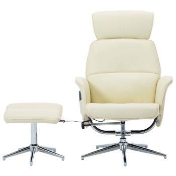 Masažni stol s stolčkom za noge kremno belo umetno usnje