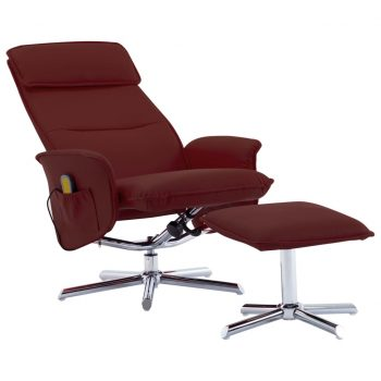 Masažni stol s stolčkom za noge vinsko rdeče umetno usnje