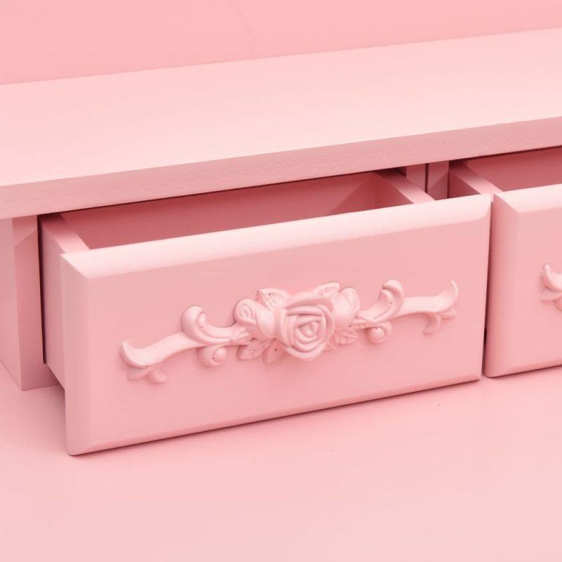 Mizica za ličenje s stolčkom roza 50x59x136 cm les pavlovnije