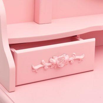 Mizica za ličenje s stolčkom roza 75x69x140 cm les pavlovnije