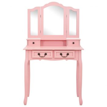 Mizica za ličenje s stolčkom roza 80x69x141 cm les pavlovnije