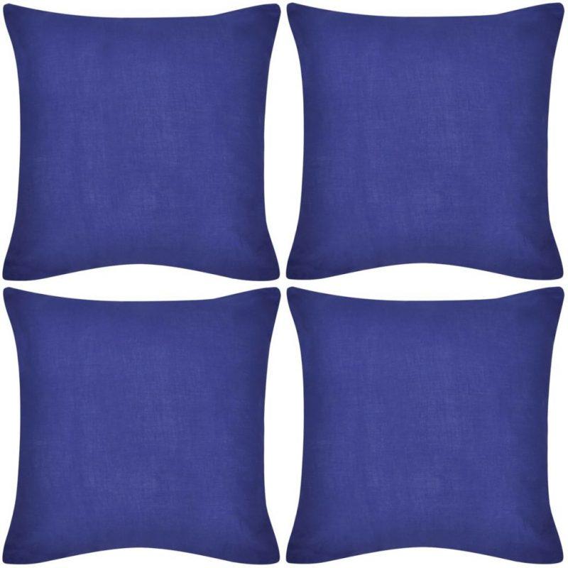 Prevleke za Blazine Bombaž 80 x 80 cm 4 kosi Modre Barve
