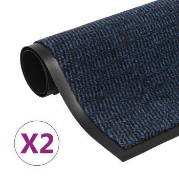 Protiprašni predpražniki 2 x pravokotni taftani 60x90 cm modri