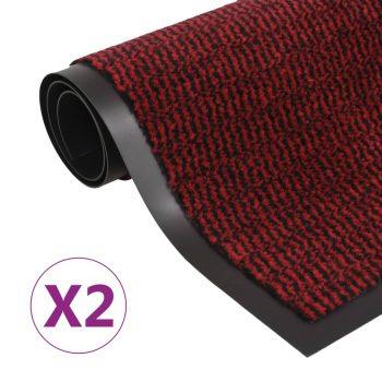 Protiprašni predpražniki 2 x pravokotni taftani 60x90 cm rdeči