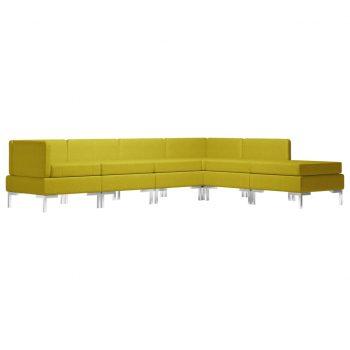 Sedežna garnitura 6-delna blago rumena