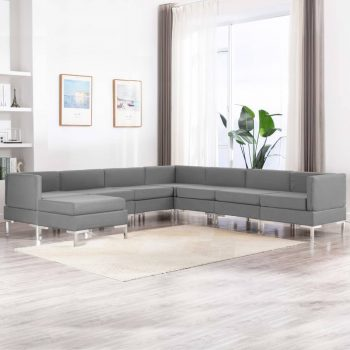 Sedežna garnitura 8-delna blago svetlo siva