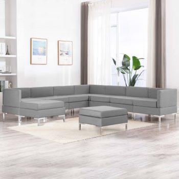 Sedežna garnitura 9-delna blago svetlo siva
