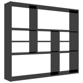 Stenska polica visok sijaj črna 90x16x78 cm iverna plošča