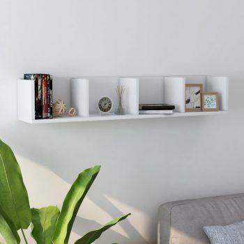 Stenska polica za CD plošče bela 100x18x18 cm iverna plošča