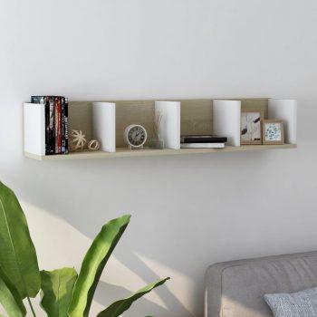Stenska polica za CD plošče bela in sonoma hrast 100x18x18 cm