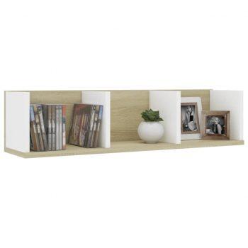 Stenska polica za CD plošče bela in sonoma hrast 75x18x18 cm