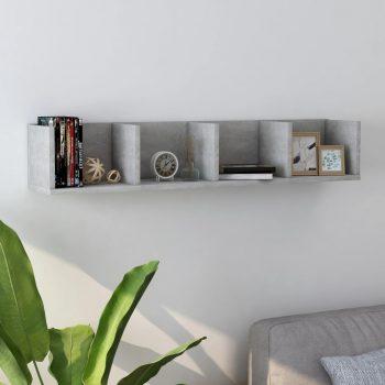 Stenska polica za CD plošče betonsko siva 100x18x18 cm