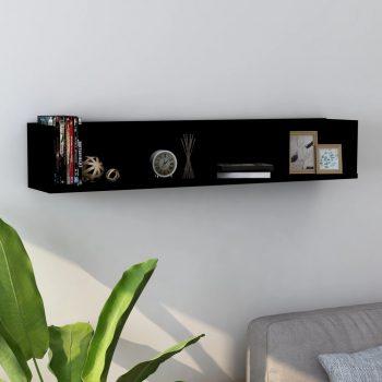 Stenska polica za CD plošče črna 100x18x18 cm iverna plošča