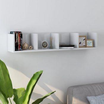 Stenska polica za CD plošče visok sijaj bela 100x18x18 cm