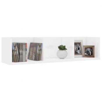 Stenska polica za CD plošče visok sijaj bela 75x18x18 cm