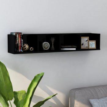 Stenska polica za CD plošče visok sijaj črna 100x18x18 cm