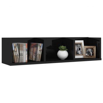 Stenska polica za CD plošče visok sijaj črna 75x18x18 cm