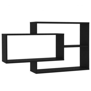 Stenske police črne 104x20x60 cm iverna plošča