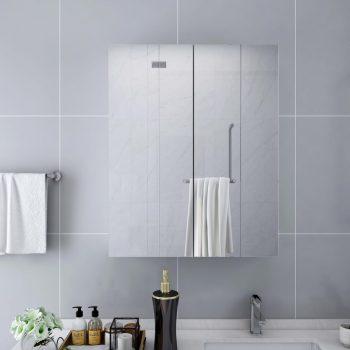 Kopalniška omarica z ogledalom bela 60x15x75 cm MDF