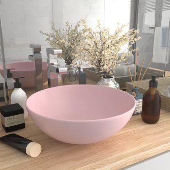 Kopalniški umivalnik keramičen mat roza barve okrogel