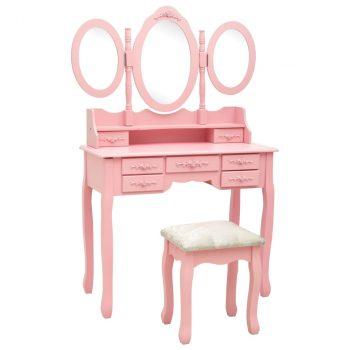Mizica za ličenje s stolčkom in tridelnim ogledalom roza
