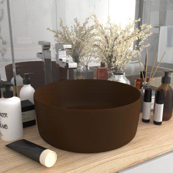 Razkošen umivalnik okrogel mat temno rjav 40x15 cm keramičen