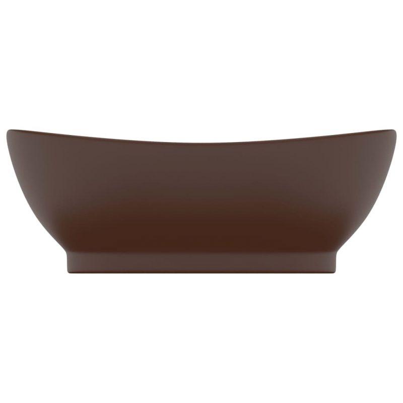 Razkošen umivalnik ovalen mat temno rjav 58