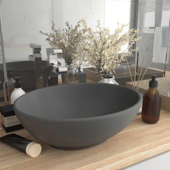 Razkošen umivalnik ovalen mat temno siv 40x33 cm keramičen