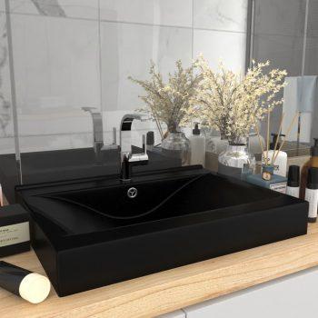 Razkošen umivalnik z luknjo mat črn 60x46 cm keramičen