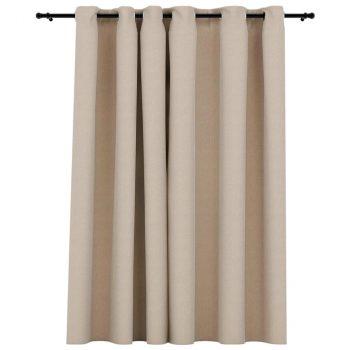 Zatemnitvena zavesa z obročki videz platna bež 290x245 cm