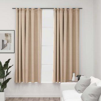 Zatemnitvene zavese z obešali 2 kosa bež 140x175 cm